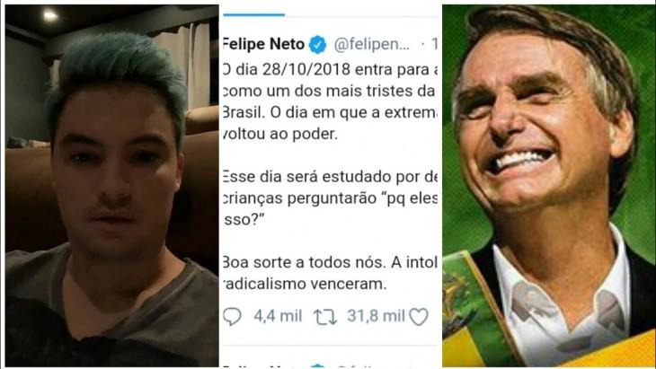 5e89db62cb4 O youtuber Felipe Neto vem utilizando seu perfil nas redes sociais para  fazer grandes críticas ao presidente eleito e que logo tomará posse